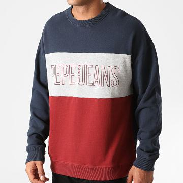 Pepe Jeans - Sweat Crewneck Tricolore Ismael 581834 Bleu Marine Gris Chiné Rouge