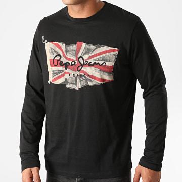 Pepe Jeans - Tee Shirt Manches Longues Flag Logo Noir