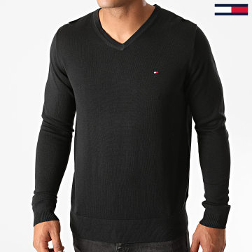 Tommy Hilfiger - Pull Col V Core Cotton-Silk 4979 Noir