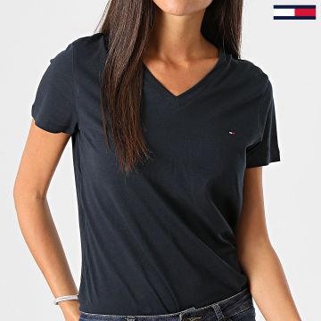 Tommy Hilfiger - Tee Shirt Femme Col V Heritage 4969 Bleu Marine