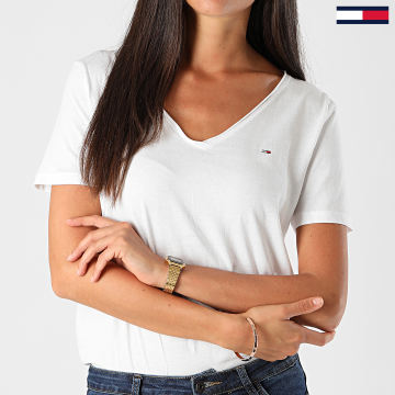 Tommy Jeans - Tee Shirt Slim Femme Col V Jersey 9195 Ecru