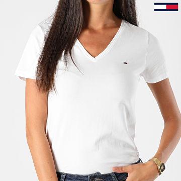 Tommy Jeans - Tee Shirt Skinny Femme Col V Stretch 9197 Blanc
