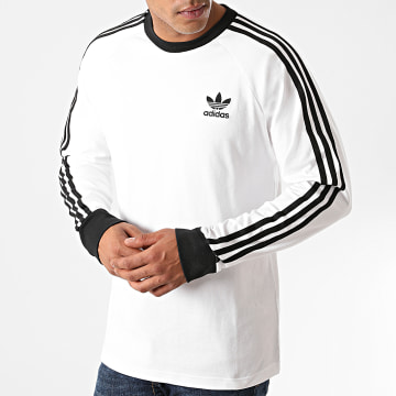 Adidas Originals - Tee Shirt Manches Longues A Bandes 3 Stripes ED5959 Blanc