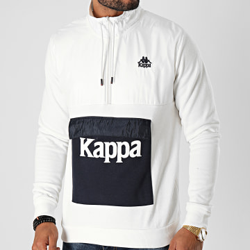 Kappa - Sweat Col Zippé If 3115KGW Ecru Bleu Marine