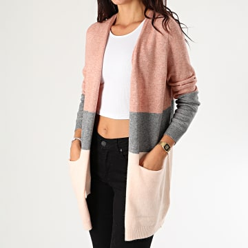 Only - Cardigan Femme Queen Rose Chiné Gris Chiné