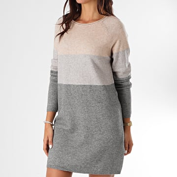 Only - Robe Pull Femme Lillo Gris Chiné Beige Chiné