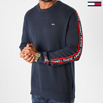 Tommy Jeans - Sweat Crewneck A Bandes Sleeve Tape 9464 Bleu Marine