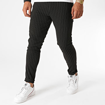 Aarhon - Pantalon Chino A Rayures A003 Noir