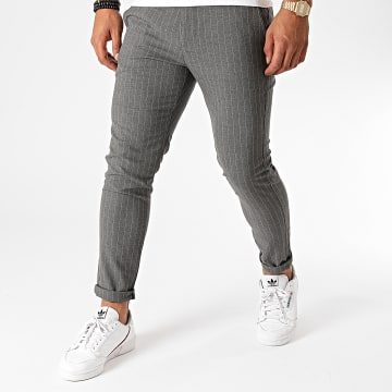 Aarhon - Pantalon Chino A Rayures A003 Gris Anthracite Chiné