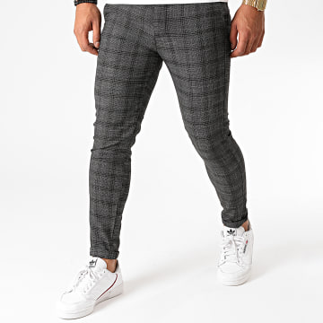 Aarhon - Pantalon Chino A Carreaux A001 Noir