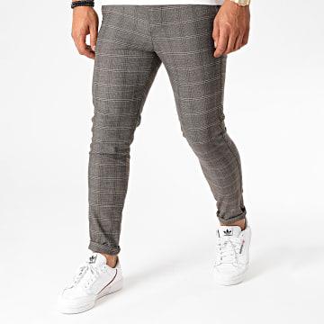 Aarhon - Pantalon Chino A Carreaux A001 Marron