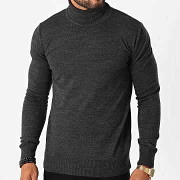 Aarhon - Pull Col Roulé AAP003 Gris Anthracite Chiné