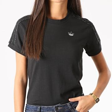 Adidas Originals - Tee Shirt Slim Femme A Bandes BB GC6789 Noir