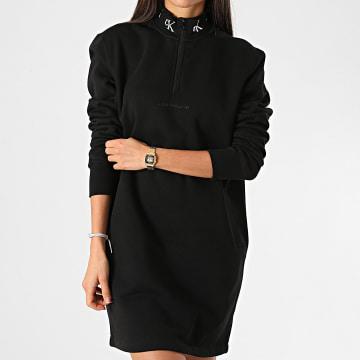 Calvin Klein - Robe Sweat Col Zippé Femme Logo Trim 4924 Noir