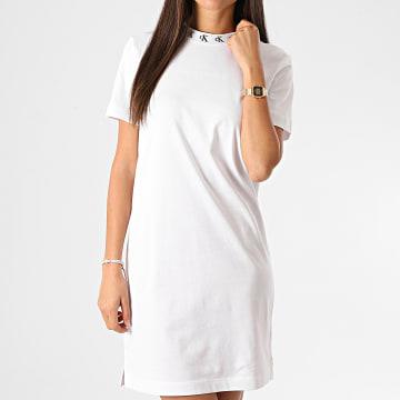Calvin Klein - Robe Tee Shirt Femme CK Logo Trim 4925 Blanc