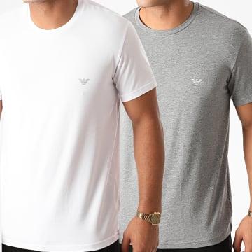 Emporio Armani - Lot De 2 Tee Shirts 111267-0A720 Blanc Gris Chiné