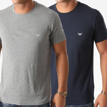 Emporio Armani - Lot De 2 Tee Shirts 111267-0A720 Bleu Marine Gris Chiné