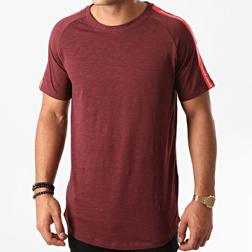 Jack And Jones - Tee Shirt A Bandes Oversize Curve Train Bordeaux Chiné