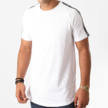 Jack And Jones - Tee Shirt A Bandes Oversize Curve Train Blanc Chiné