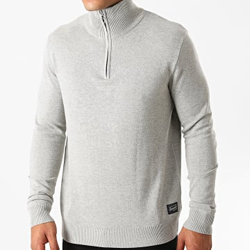 Jack And Jones - Sweat Col Zippé Eli Gris Chiné
