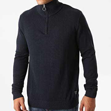 Jack And Jones - Sweat Col Zippé Eli Bleu Marine