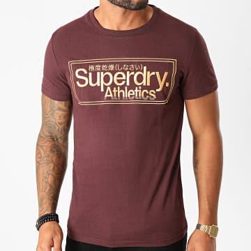 Superdry - Tee Shirt CL Athletics M1010352A Bordeaux Doré