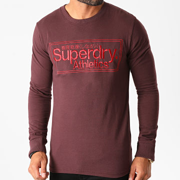 Superdry - Tee Shirt Manches Longues CL Athletics M6010157A Bordeaux