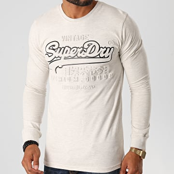 Superdry - Tee Shirt Manches Longues VL Embossed M6010159A Ecru Chiné