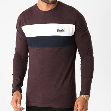 Superdry - Tee Shirt Manches Longues OL Engineered M6010183A Bordeaux Chiné