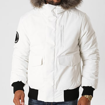 Superdry - Veste Zippée Fourrure Everest Bomber M5010203A Blanc