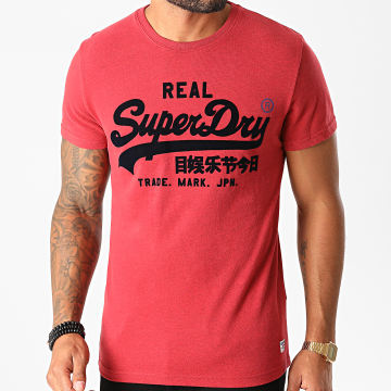 Superdry - Tee Shirt VL Varsity M1010349B Rouge Chiné