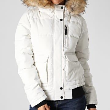 Superdry - Bomber Capuche Fourrure Femme Everest Blanc