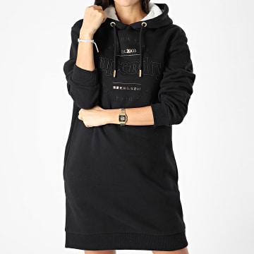 Superdry - Robe Sweat Capuche Femme Established Noir