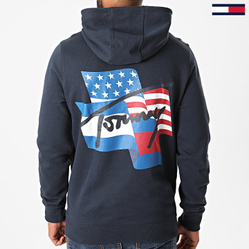 Tommy Jeans - Sweat Capuche Flag Graphic 8703 Bleu Marine