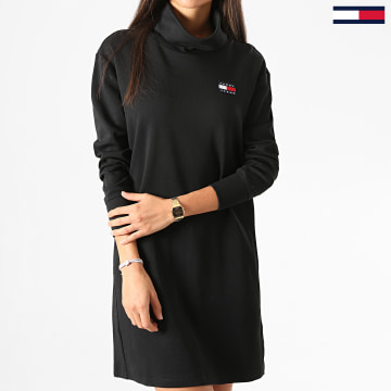 Tommy Jeans - Robe Pull Col Roulé Femme Badge Mock Neck 8877 Noir