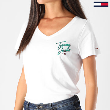 Tommy Jeans - Tee Shirt Femme Col V Essential 8933 Blanc