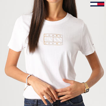 Tommy Jeans - Tee Shirt Femme Outline Flag 8936 Blanc