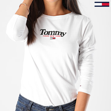 Tommy Jeans - Tee Shirt Femme Manches Longues Essential Logo 8941 Blanc