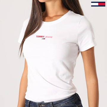 Tommy Jeans - Tee Shirt Femme Flag 8948 Blanc