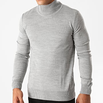 Aarhon - Pull Col Montant AAP004 Gris Clair Chiné