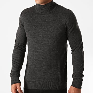 Aarhon - Pull Col Montant AAP004 Gris Anthracite Chiné