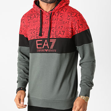 EA7 - Sweat Capuche 6HPM28-PJ05Z Rouge Gris Anthracite