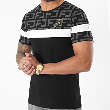 Final Club - Tee Shirt Premium Tricolore Avec Motif Monogram Broderie Or 490 Noir