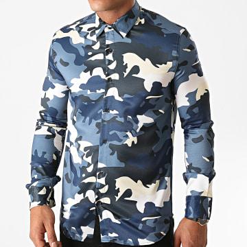 Ikao - Chemise Manches Longues Camouflage LL149 Bleu Marine