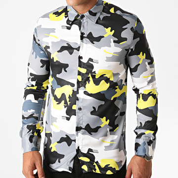 Ikao - Chemise Manches Longues Camouflage LL149 Gris Jaune
