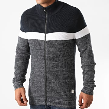 Jack And Jones - Gilet Zippé Outland Bleu Marine Chiné