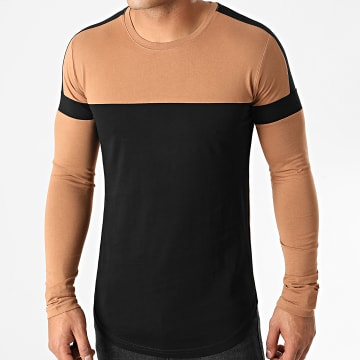 LBO - Tee Shirt Manches Longues Oversize A Bandes 1419 Noir Camel