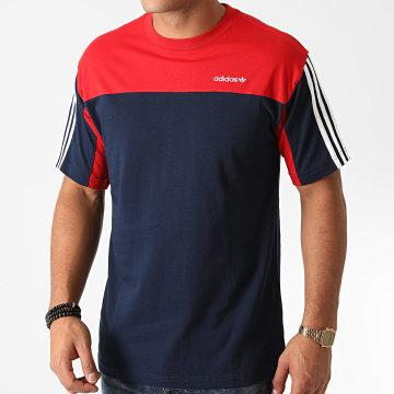 Adidas Originals - Tee Shirt A Bandes Classics GD2072 Bleu Marine Rouge