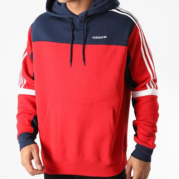 Adidas Originals - Sweat Capuche A Bandes Classics GD2078 Rouge Bleu Marine