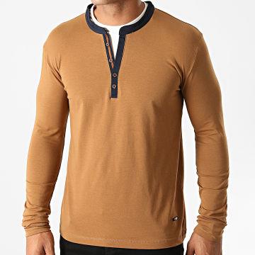 Armita - Tee Shirt Manches Longues Col Tunisien 7423 Camel